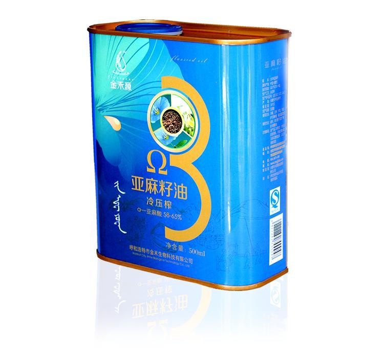 500ml铁桶(金禾源亚麻籽油)