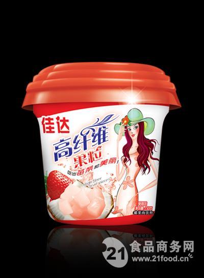 休闲食品高纤维果粒杯草莓味