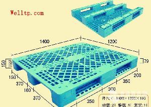 网格川字九脚平板塑料托盘