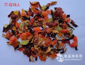 厂家大量生产草莓味果粒茶OEM贴牌加工