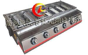 升级款不锈钢六头无烟燃气烧烤炉