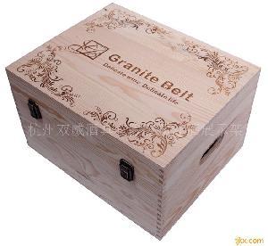 松木箱/六支装葡萄酒木箱/红酒木盒/红酒驿站包装盒礼盒