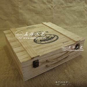 仿古四支红酒木箱 复古4瓶装红酒木箱 桐木做旧红酒木盒 葡萄酒包装